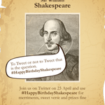 RT @TwitterUK: Be sure to join in today & tweet #HappyBirthdayShakespeare to pay tribute to the Bard of Avon https://t.co/whCv3V200D http://t.co/J7ENfv8bmM