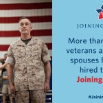 RT @FLOTUS: FACT: Companies working with @JoiningForces have hired more than 540,000 veterans & military spouses. #JoiningForces http://t.co/KVEXkPn3f6