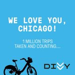 To make #DIVVYWEEK even better, we just hit 1 million trips taken! RT if you helped us get there! #bikechi #Chicago http://t.co/TUwllxeCU2