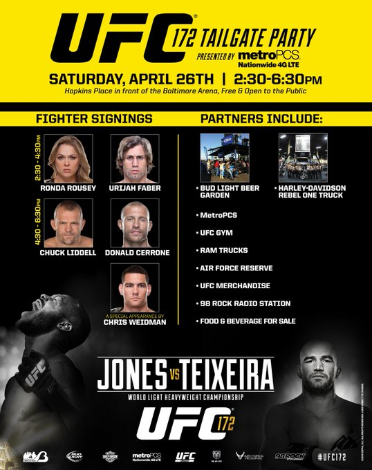 Come to the #UFC172 Tailgate Party from 2:30-6:30pm before the prelims start! Meet some of your favorite fighters! http://t.co/zBvQC3oEhJ
