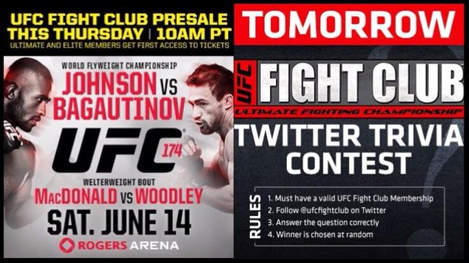 Don't forget! The Fight Club presale for #UFC174 is TOMORROW at 10am PT! We'll also do a Trivia Contest! Stay tuned! http://t.co/mJrJy5kaCO
