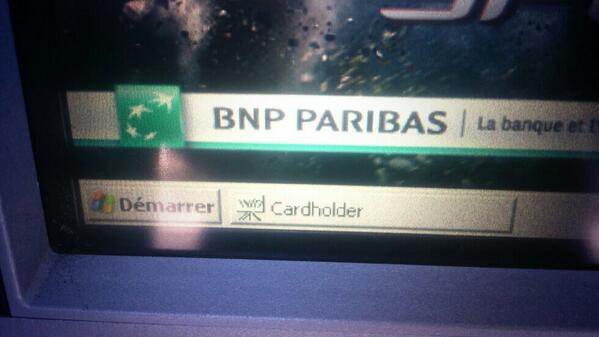 Would you really trust an ATM running on #WindowsXP ? #BNPPARISBAS http://t.co/GgamJ9LVMY