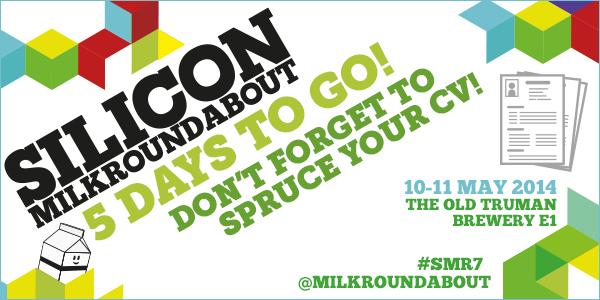 5 days to go 'til the next Silicon @Milkroundabout! Start preparing CVs! 150+ startups, 1000s of jobs, one weekend. http://t.co/LEwNQT7Vl7