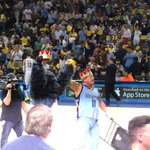 King is in the #Grindhouse MT @JerryLawler Halfcourt at Grizzlies-Thunder playoff game! Chairshot to a Thunder fan! http://t.co/SBTULDle4j