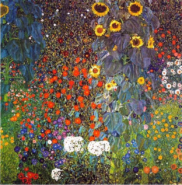 "RT @hutterdesign: GUSTAV #KLIMT"" Farm Garden with Sunflowers"" (1907) #art #painting #iloveart #fineart #followart  #garden #jardin http://t.co/W4Z6CWT7n7"