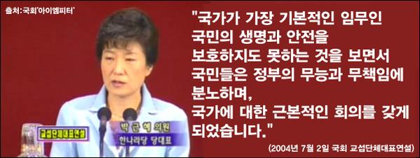 많은 사람들이 왜 박근혜 대통령을 비판하느냐고 묻는데, 그 대답은 이미 박근혜 대통령이 2004년에 했습니다. - 2004년 박근혜 한나라당 당대표 시절 연설자료 - http://t.co/VRVZuzDTFp