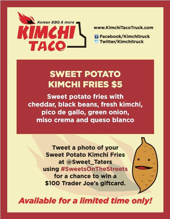 Mmm, taters! Tweet a pic w our special taters @Sweet_Taters  #SweetsOnTheStreets 4 chance to win $100 GC http://t.co/TsohRXPkvX