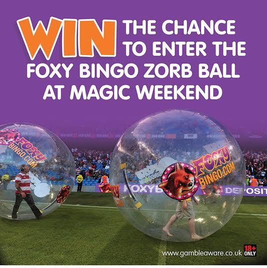 Thanks to @FoxyBingo, you can win 2 tickets & be the Zorb ball at #MagicWeekend. RT to enter! 18+ ONLY http://t.co/7Me95WYazV