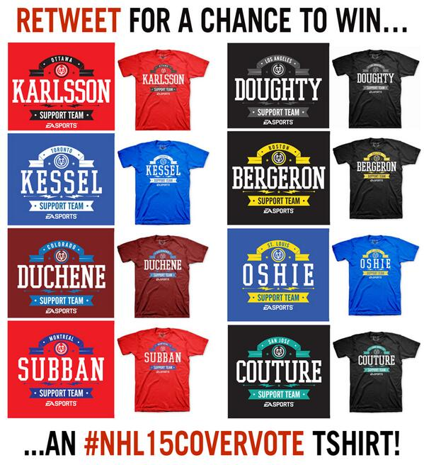 Who are you supporting? RETWEET for a chance to win an #NHL15CoverVote tshirt! http://t.co/PPha5udPGF http://t.co/9pqx9G5Q1w