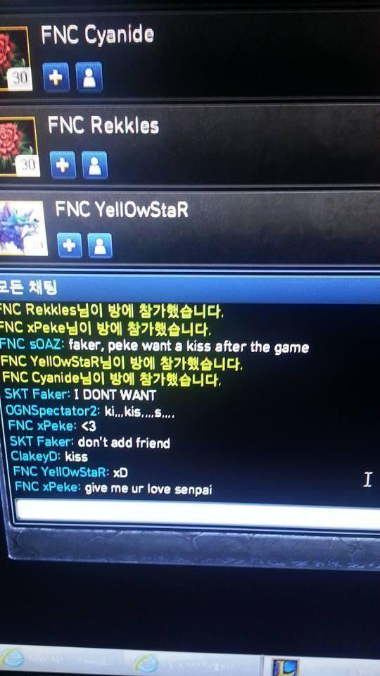 All @FnaticxPeke wants is Faker's love! #FakerSenpai http://t.co/00vCr3YCd5