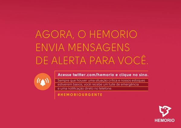 Agora o @hemorio envia mensagens quando os estoques caírem. Clique e salve vidas! #saúdeRJ #hemoriourgente http://t.co/5D2odNxwb5