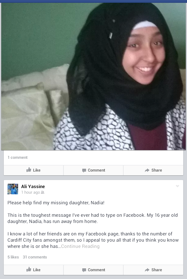 A #CardiffCity family call. Please RT & help as possible. Ali Yassine's daughter Nadia has been missing since Friday http://t.co/R1JFxMo4Rv