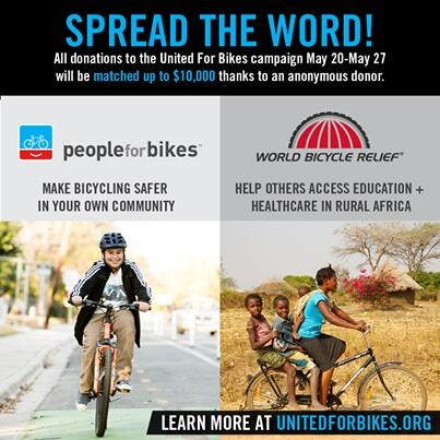 All donations matched $ for $ for @PowerOfBicycles and @peopleforbikes #unitedforbikes http://t.co/iZBMEJOCqY http://t.co/0dFbXucQFF