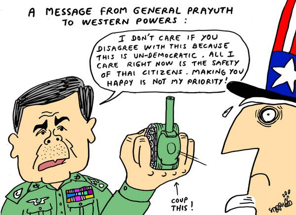 Good old Stephff will surely get a couple of feedback. RT @stephffart: Prayuth to western powers http://t.co/UxSKjFi6pj