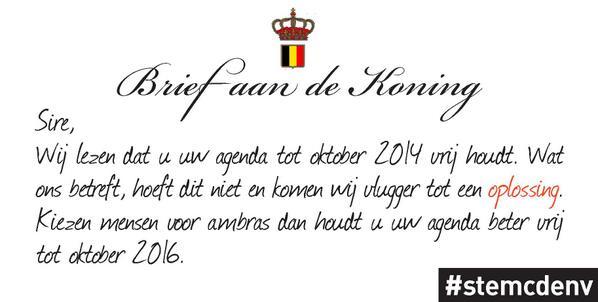 Open brief van @cdenv aan Koning Filip #stemcdenv #vk14 http://t.co/L3GRWeJrK0