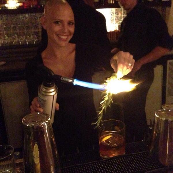 Sampling an original concoction courtesy of cocktail master Lauren @41OceanClub w/ bourbon, chocolate & marshmallows http://t.co/O7nVSfR7PI
