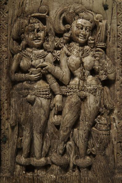 Women under a torana gateway; 1st c ivory, Begram, Afghanistan. The Kabul museum collection was looted in the 90s. http://t.co/i4LApgHslL