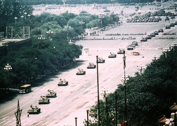 Today is the 25th anniversary of the Tiananmen Square Massacre. Did you know there's a wide-angle photo of Tank Man? http://t.co/8A3VmhOvsZ