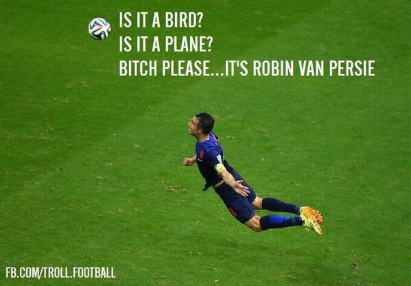 """@Annadenicola: I believe I can fly..lol #spainvsnetherlands #WorldCup2014 #vanpersie http://t.co/hCinaJsGAh"""