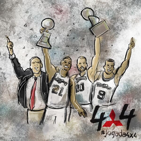É campeão! San Antonio fecha a série em 4x1 e conquista seu 5º título do basquete americano! Parabéns! #jogada4x4 http://t.co/8Nd81uMm3O