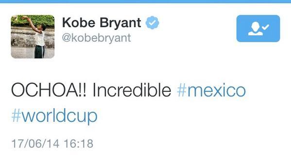 Valeria Marín (@ValMarinR): Y los elogios para @yosoy8a continúan... @kobebryant así felicitó al arquero mexicano... http://t.co/q3uZypOSvu