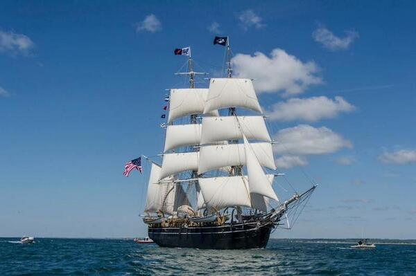 Beautiful. Historic whaling ship Charles W. Morgan under full sail. More photos: http://t.co/Pd35IyoPP2 http://t.co/Zwhi3Mu7Jj