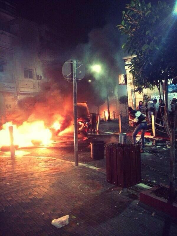 Photo taken at center of #Ramallah about an hour ago! Israeli forces raided the city & youth revolted! #Palestine http://t.co/CmeHxA6XRU