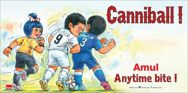 """And here it is! """"@Amul_Coop: Amul Topical : Uruguay striker uses his teeth! #FIFA #WorldCup http://t.co/9VgOkH45KT"""""""