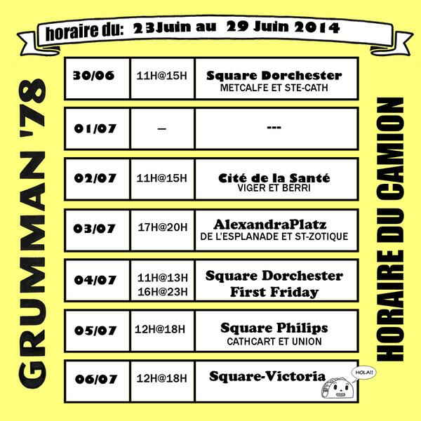 Voici l'horaire pour la semaine. We hope to see you at the truck! http://t.co/C3fsPlDRA3