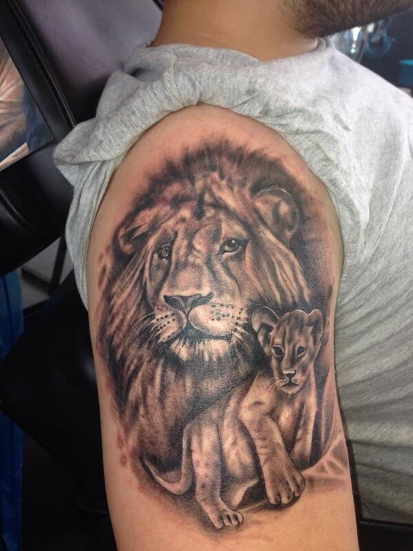 Enjoyed Doing This Lion And Cub Tattoo Representing Father And Son Jptattooist