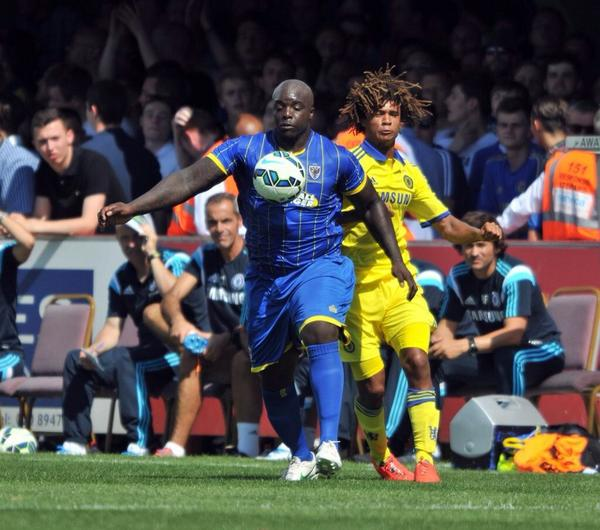Bs64STfIEAAgcpF BEAST MODE: Akinfenwa looked like an NFL professional next to Chelseas players [Pictures]
