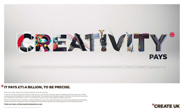 Creative industries worth £71.4bn to UK economy: ad in today's @MetroUK #CreateUK http://t.co/k4FxIUmQB6 http://t.co/rbpQVtLgTH