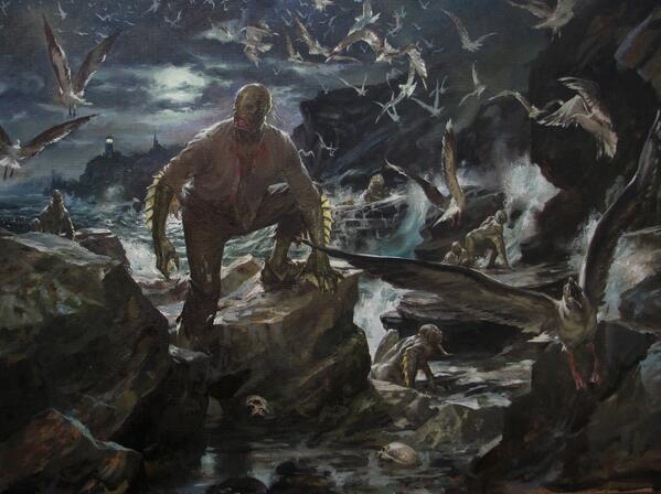 An AMAZING Innsmouth-inspired painting by Paul Dainton. You think YOU'VE got a tough commute! #HPpodcraft http://t.co/EuYX0gEj0h