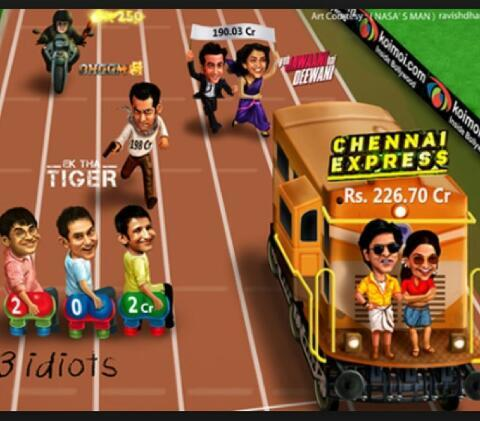 LOL funny cartoons of SRK-Deepika (CE), Ranbir-DP (YJHD), Aamir (3I, Dhoom3) and Salman (ETT). Boxoffice race.