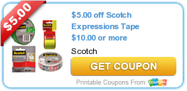 $5/$10 Scotch Expressions Tape Purchase! - http://t.co/X9SywLGUwm #Coupon #Coupons http://t.co/e6hyyenQoX