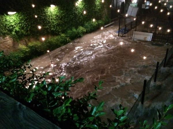 #Austin RT @AdamBennettTV: Photo from Easy Tiger. This was their patio flooded around midnight http://t.co/vkIfa03se9