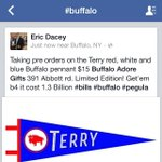 "Get your old school felt ""Terry"" red, white & Blue buffalo pennant @BuffaloAdore #BillsMafia #BuffaloBills #Pegula http://t.co/8mPqyZM0Cb"
