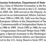 John Francis Tefft, blocked ambassador to Russia, has a career of public service dating to 1971. http://t.co/KaLXb4LD2R