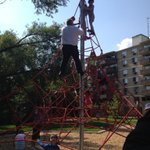 Rob Ford climbing at a playground. The mayors favorite way to end a night out. https://t.co/zQVkDu5Lnj