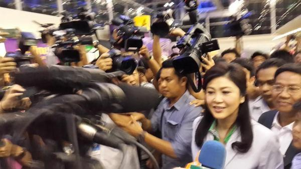 RT @STForeignDesk: JUST IN: Ousted #Thailand PM #Yingluck arrives at Suvarnabhumi Airport to leave Bangkok for Paris http://t.co/vrPWN6PWfN