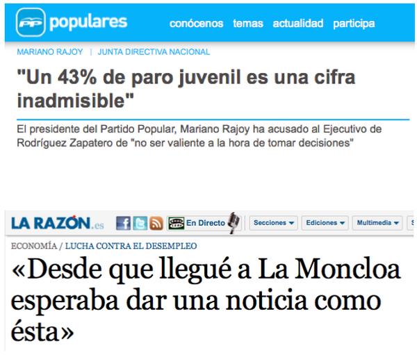 Xose Morais (@XoseMorais): Rajoy en 2010: un 43% de paro juvenil es inadmisible. Rajoy en 2014: un 53% de paro juvenil es un notición triunfal. http://t.co/jmYfuEY5b2