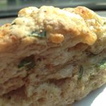 THIS loveliness is a cheddar and green onion scone ... It is found @silverbeancafe #ptbo http://t.co/oLFKiSAcRY