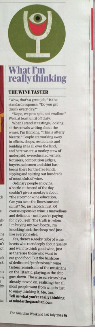Ooh, so who wrote today's 'What I'm really thinking' column in the Guardian about wine tasting? http://t.co/zXtKAKBsK3