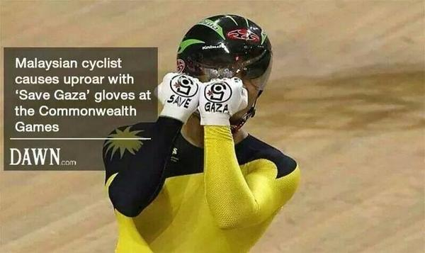 I do hope the Games authorities won't be so stupid as to try and punish this Malaysian cyclist hero #Gold4Courage http://t.co/HdraXrCkRs