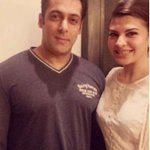 Salman Khan poses with his #Kick co-star Jacqueline Fernandez #EID Party at Galaxy Apartment! @Asli_Jacqueline http://t.co/OT6Aei3jkl