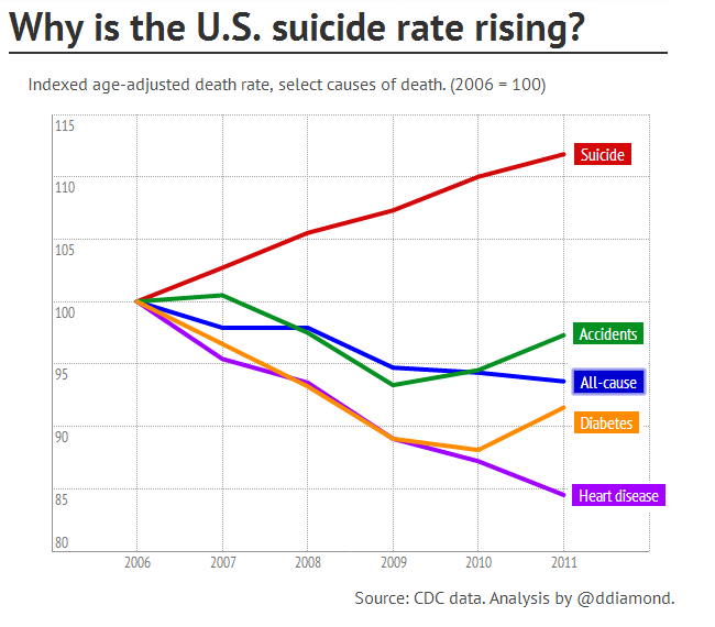 a study on suicide causes and rates in america