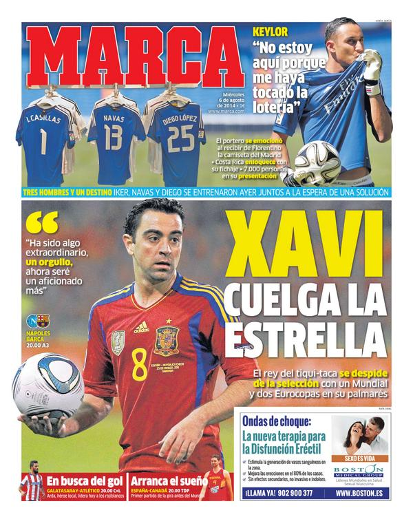 BuTzDm7IIAEv 0x Marca pay tribute to one of Spains all time greats: Xavi hangs up his boots [Picture]