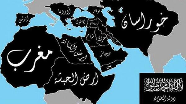 Este es el mapa al que aspiran los yihadistas del Estado Islámico, atacados hoy por EEUU en el norte de Irak. http://t.co/B1X3OPFGPk