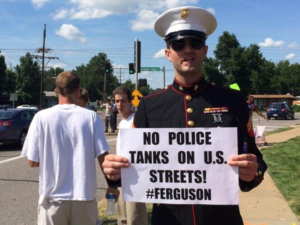 Powerful image. RT @AntonioFrench: A military man upset about the militarization of #Ferguson http://t.co/SfijMLap5Z