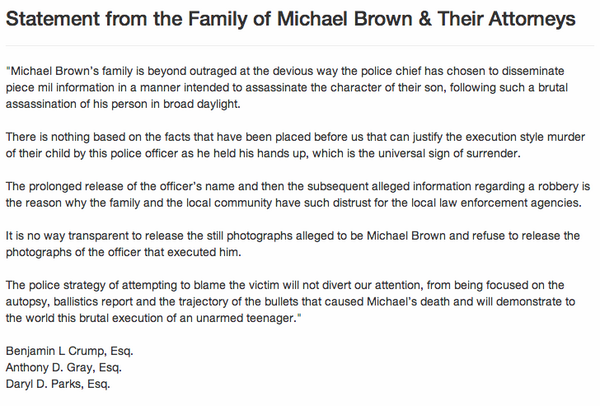 Welp. Doesn't get any stronger than that. RT @ryanjreilly: Statement from Michael Brown's family and their attorneys http://t.co/MO0XqzxTCK